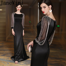 JaneVini 2020 Sexy Black Long Mother of the Bride D