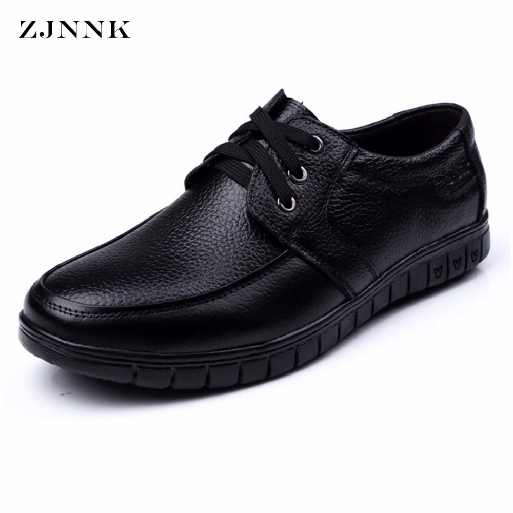 ZJNNK New Genuine Leather Men Flats Black Brown Men Leather Shoes For Gentlemen Oxfords Zapatos Hombres Mature Man Shoes 825-826 good quality men genuine leather shoes lace up men s oxfords flats wedding black brown formal shoes