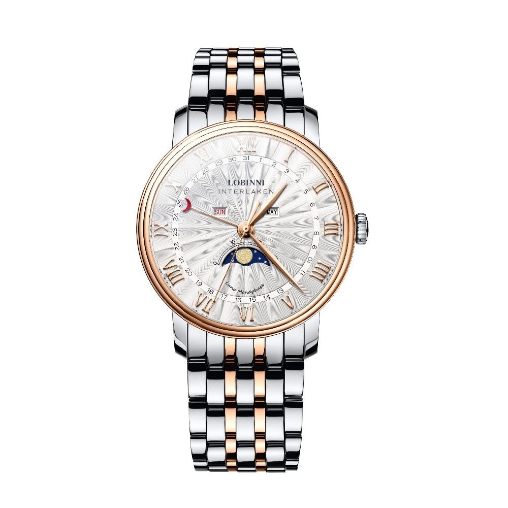 LOBINNI Mens Business 30M Waterproof Sapphire Mirror Fashion Multifunctions Quartzl Wrist Watch With Month Week Moon