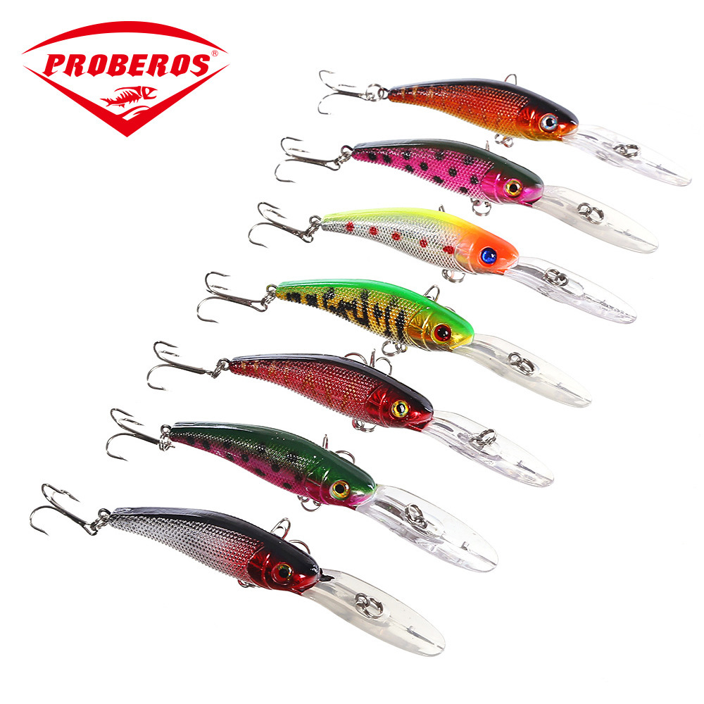 1PC 101mm 7 6g Colorful Minnow Fishing Lure Floating Crankbait Artificial Hard Bait Minnow Bass Wobbler Long Tongue Sea Fishing in Fishing Lures from Sports Entertainment