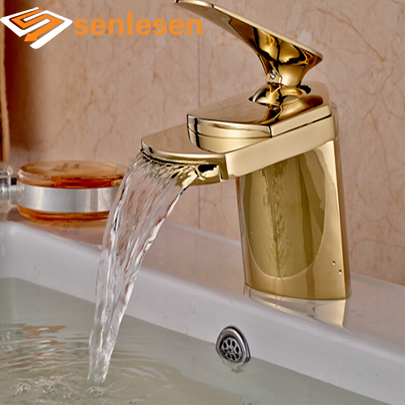 Wholesale And Retail Free Shipping Golden Finish Waterfall Bathroom Faucet Big Spout Sink Mixer Tap Hot And Cold Mixer us free shipping wholesale and retail modern chrome finish bathrom waterfall sink basin faucet mixer tap dual holes wall mount