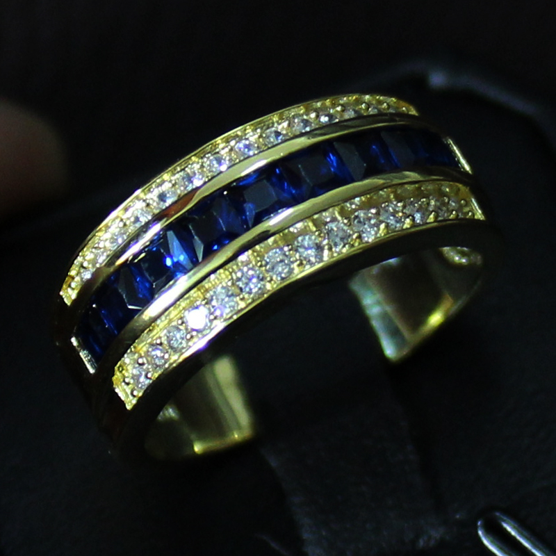 Fancy Mens Blue Sapphire 10KT Yellow Gold Filled Wedding Band Ring In Rings From Jewelry Accessories On Aliexpress