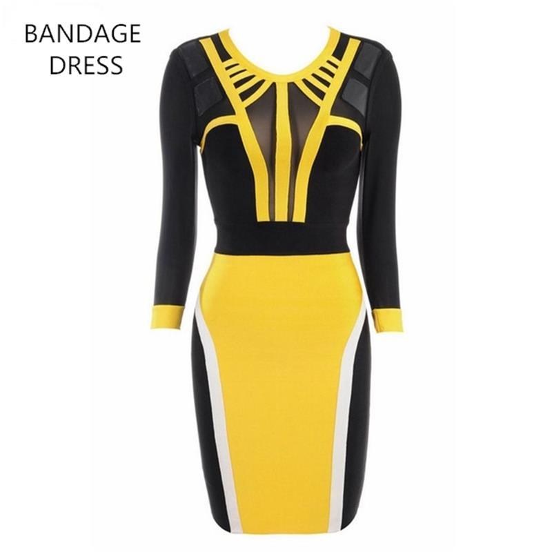 2017 BANDAGE DRESS New Arrival Women O-Neck Half Sleeves Patchwork See through Mini Sexy Bandage Dress Wholesale HL J391
