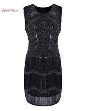SexeMara New Beautiful High Class Ladies Solid Black 1930s Vintage Gatsby Flapper Dress Christmas Party Dress Vestidos