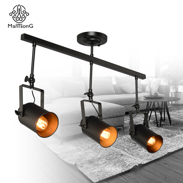 Retro black loft industrial pendant lamp track lights vintage retro black loft industrial pendant lamp track lights vintage spotlights for kitchen dinning room bar clothes mozeypictures Choice Image