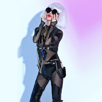 New Female PU Leather Bodysuit See Through Jumpsuit Bar Nightclub Sexy Costumes Hip Hop DJ Rock