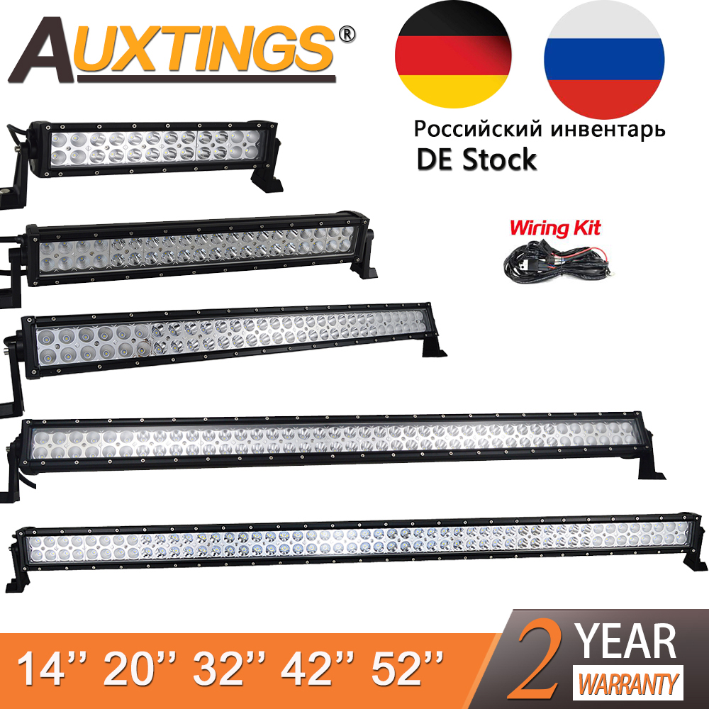 Auxtings High Power Dual Row 12V Straight Led Work Light Bar 14 20 32 42 52 Inch Offroad Car Led Light Bar Combo 4x4 SUV ATV