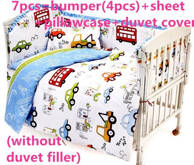 Promotion! 6PCS Infant Baby Bed Linen Blue Sabanas Cuna Baby Bedding Set  (bumper+sheet+pillow cover)