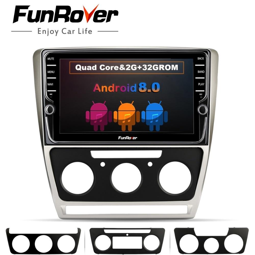 Funrover 9 ''Android 8,0 2 din автомобильный Dvd мультимедийный плеер навигации Аудио Радио для Skoda Octavia 2008-2013 5 A5 Yeti Fabia