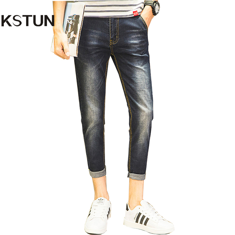 2017 Summer Men Jeans Dark Blue Korean Stretch Ankel Length Thin Casual Denim Pants Yong Man Jean Slim Homme Quality Jeans 38
