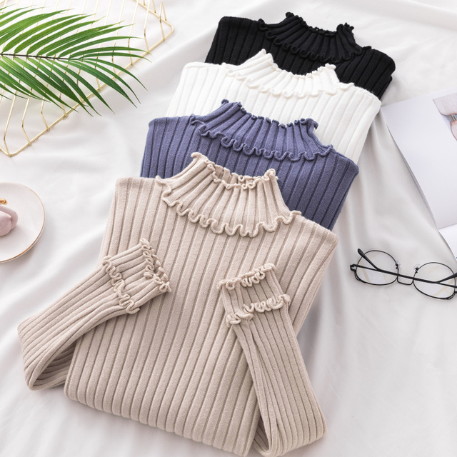 Chic Women Girls Office Lady New Ruched Semi High Necked Sweater Autumn Winter Female Long Sleeved Basic Knitted Pullover Shirt