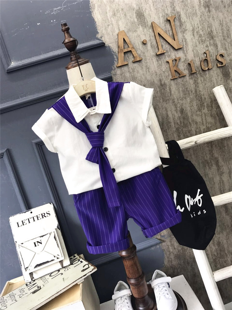 Baby boy clothes summer formal kids clothes suit 2Pcs boys set baby born gentleman toddler boy clothes birthday dress 2-6years 2018 new cotton baby boy clothes summer toddler boys striped rompers sunhat 2pcs clothing set gentleman suit kids clothes