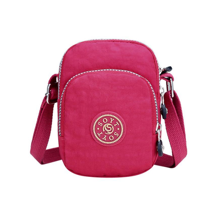 Женская мода нейлон кожа Сумка ms. Однотонная одежда на молнии с принтом сумка маленькая вечерние сумка # W