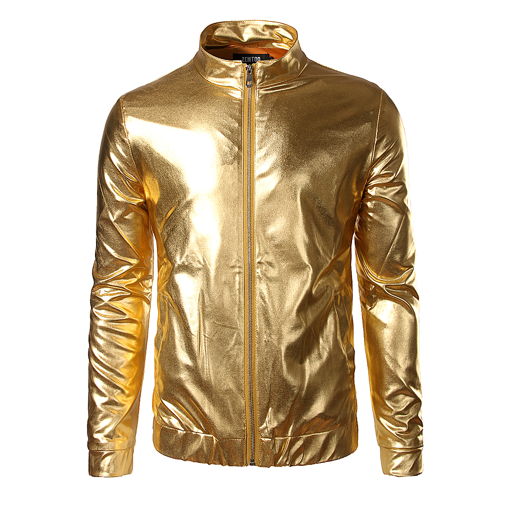night club trend metallic gold jacket men veste homme 2016 fashion stand collar front zip. Black Bedroom Furniture Sets. Home Design Ideas