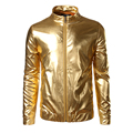 Night Club Trend Metallic Gold Jacket Men Veste Homme 2016 Fashion Stand Collar Front-Zip Lightweight Jacket Baseball Bomber