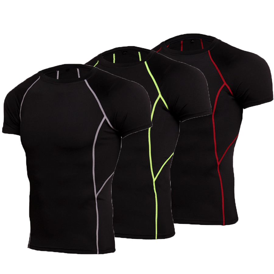 Summer Bodybuilding Sport T Shirt Men Running Shirt Quick Drying Compression Shirt Men Sportwear Gym Training Tshirt Fitness Top