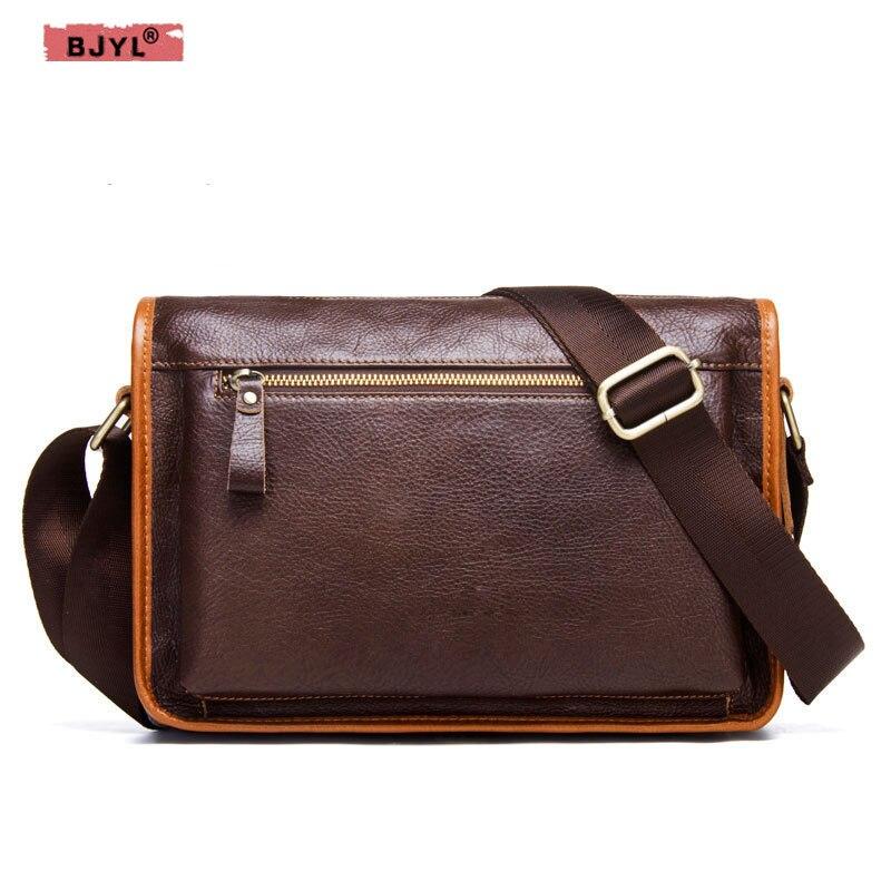 BJYL New Men's Messenger Bag Genuine Leather Casual Multifunctional Shoulder Bag First Layer Leather Men's Bags стоимость