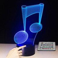 7 цветов изменить LED Light Touch Сенсор USB 3D Luminaria нот ночник ребенок инструмент лампы для Домашний Декор любителей музыки