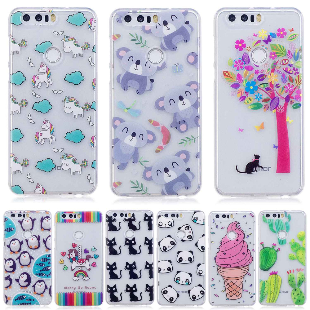 cat penguin Doughnut cactus panda flowers Icecream cartoon Painted phone case For Huawei Honor 8 high Quality TPU cover shell
