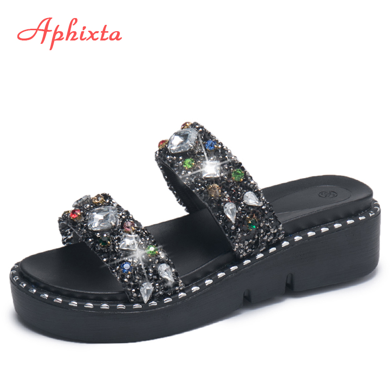 Aphixta Male Shoes Women Wedge Heel Bling Slippers Summer Cool Crystal Slides Platform Outside Slippers Beach Flip Flop Sandals xiaying smile summer woman sandals square heel women slippers slides shoes women pumps fashion casual bling crystal women shoes