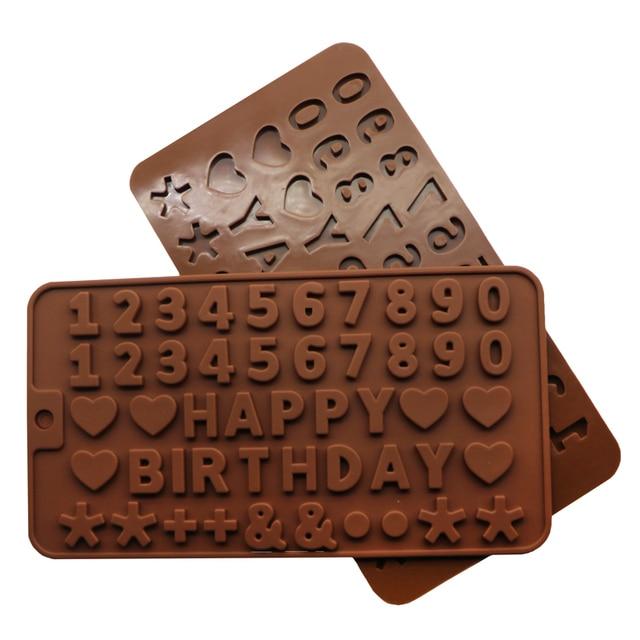 Happy Birthday Alphanumeric Symbols Letters Silicone Mold Heart