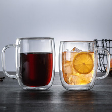 Double Coffee Cup With Handle mug Insulated double Glass creative gift milk Drinking utensils