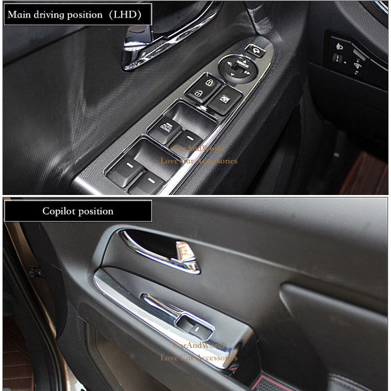 ABS Chrome Accessories For KIA Sportage R Door Window Switch Button Cover Inner Armrest Panel Trim 2011- 2015 Car-styling car door armrest window switch stickers decoration sequins control panel cover lhd for hyundai creta ix25 2015 2016 accessories