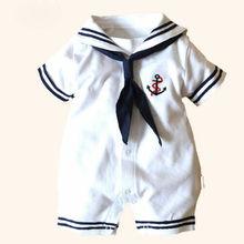 Newborn Sailor White Jumpsuit Bodysuit Outfit Clothes Set O-neck 0-12M baby Jumpsuit 100%Cotton baby clothing Infant sets стоимость