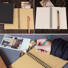 Retro Spiral Coil Notebook Sketchbook Diary Journal Student Note Pad Book Memo a5 simple notebook spiral coil note book paper for journal diary memo blank page stationery