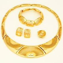 2017 Моды В Дубае Женщин Свадьба колье Золотые ювелирные наборы африканский позолоченные Choker jewelry(China (Mainland))