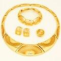 2017 moda mulheres da festa de casamento colar set conjuntos de jóias de ouro dubai ouro africano banhado choker jóias
