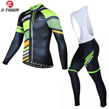 X-虎 2020 サイクリング服セット速ドライ自転車ウエア長袖 MTB 自転車ジャージ Ropa マイヨ Ciclismo サイクリングウエアキット