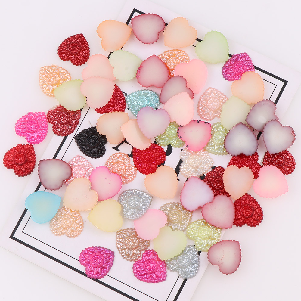 Mix Color 100pc 17*23mm Heart Flat Back Cabochon Imitation Plastic ABS Pearl Beads For DIY Jewelry Handmade Craft Making