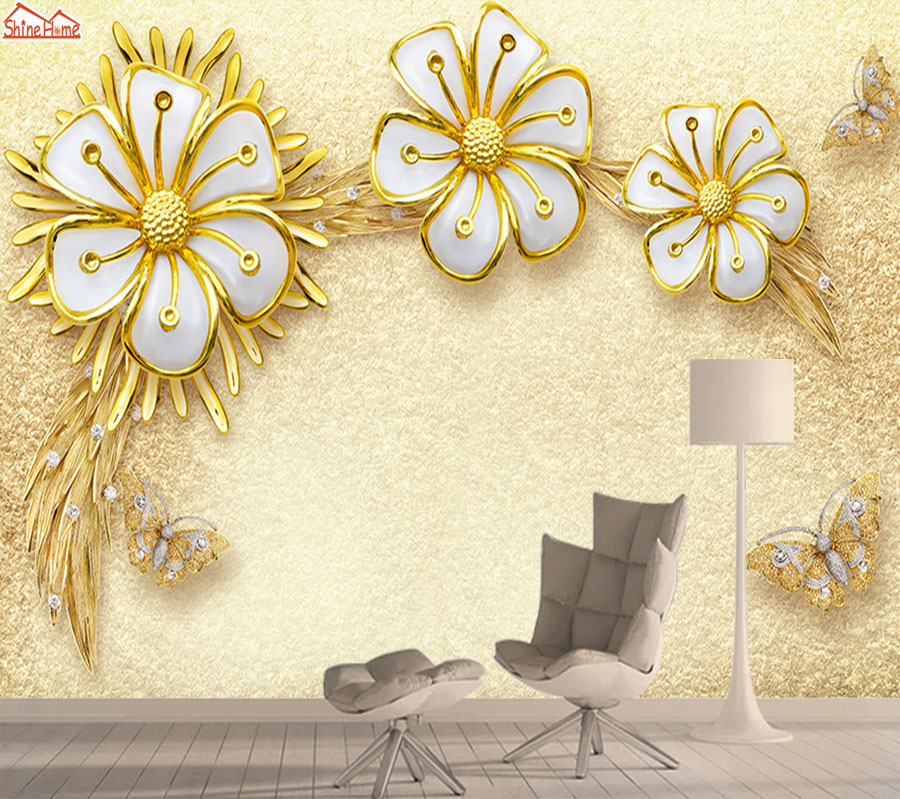 Modern 3d Mural Wallpaper Wall Paper Papers Home Decor Wallpapers For Living Room Gold Floral Self Adhesive Murals Walls Rolls