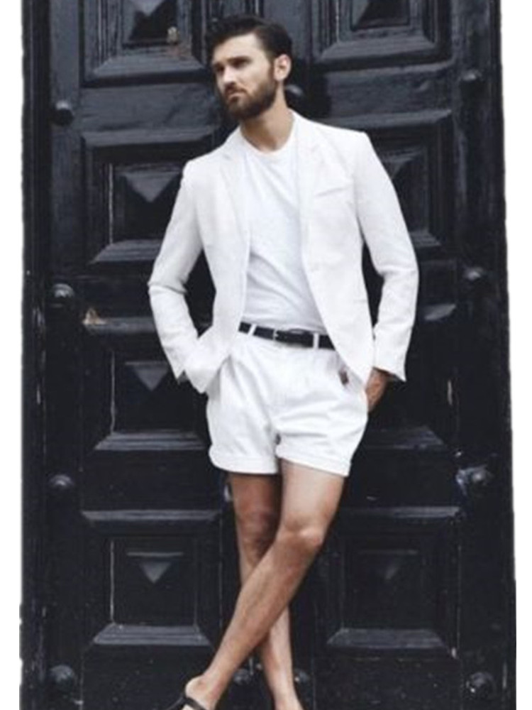 Summer new <font><b>men's</b></font> jacket + <font><b>shorts</b></font> Slim best <font><b>men's</b></font> <font><b>suit</b></font> white summer beach <font><b>men's</b></font> dance party <font><b>suit</b></font> <font><b>shorts</b></font> image