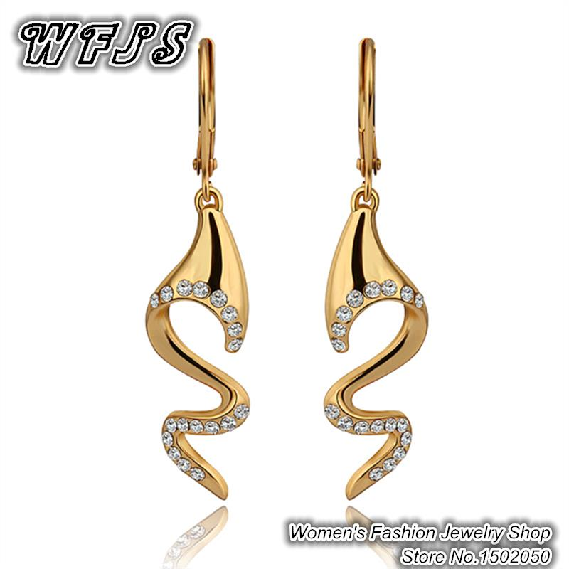 2015 Lastest Design Inlaid Crystal 18K Gold Plated drop Earrings ...