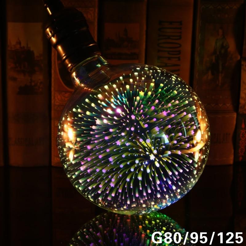 Image 2 - Led Light Bulb 3D Decoration Bulb 220V ST64 G95 G80 G125 A60 E27 Holiday Lights Novelty Christmas Lamp Lamparas-in LED Bulbs & Tubes from Lights & Lighting