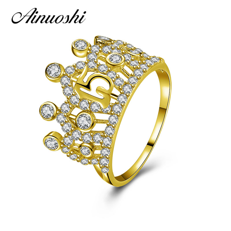 AINUOSHI Exquisite Princess Crown Ring 10K Solid Yellow Gold Bridal Ring Crown Ring 15th Anniversary Jewelry Women Wedding Ring graceful solid color rhinestone crown shape ring for women