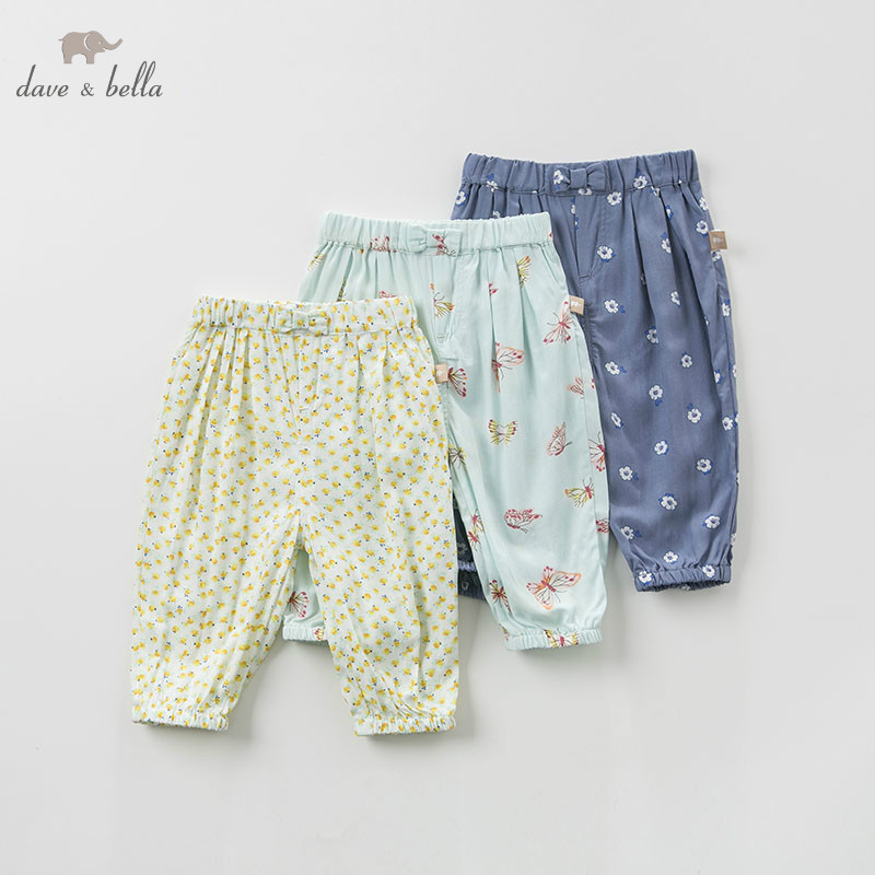 DB5456 dave bella spring baby girls pants children full length kids printed pants infant toddler trousers
