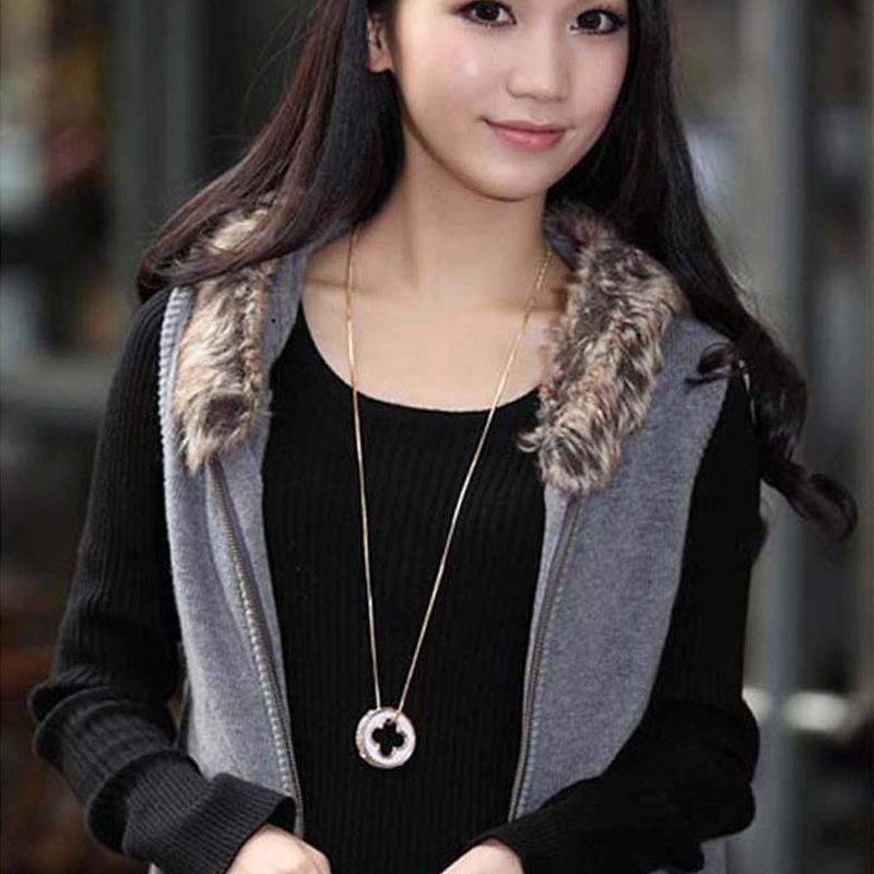long sweater chain necklace made with Austrian crystal gold color plated fashion brands clover design jewellery for women