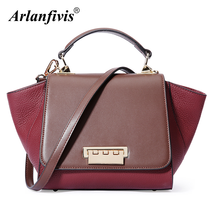 Arlanfivis 100% Genuine Leather Fashion Design Women Leather Handbags Female Bat Bag Woman Messenger Bags Trapeze High Quality woman handbags 100