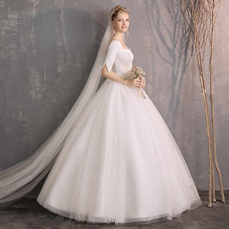 1a123ce16e7ad Holievery Bateau Neck Satin Beach Wedding Dresses 2019 Half Sleeves Floor  Length Wedding Gowns Vestidos De Novia