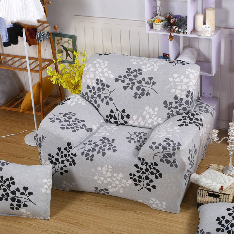 100 Polyester Sofa Throws Www Dfs Beds ᗖspandex Stretch Gray Leaf Cover Big Elasticity Spandex Furniture