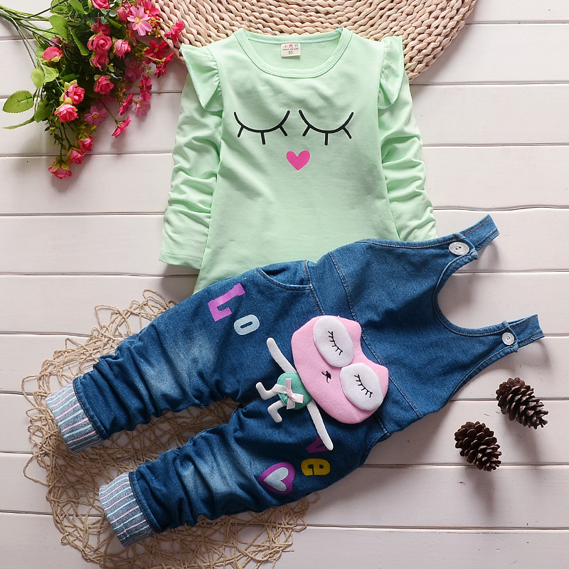 Baby Toddler girl clothing kids girls clothes long sleeve denim jeans set tops+jumpsuit Overalls autumn sets 1 2 3 4 years old 3 new kids clothes girls set cartoon minnie autumn 2017 baby long sleeve t shirt denim overalls children clothing sets girl suit