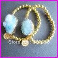 4pcs Gold finished Natural Drusy/ Druzy Quartz connector Stone bead stretch crown pendant bracelet