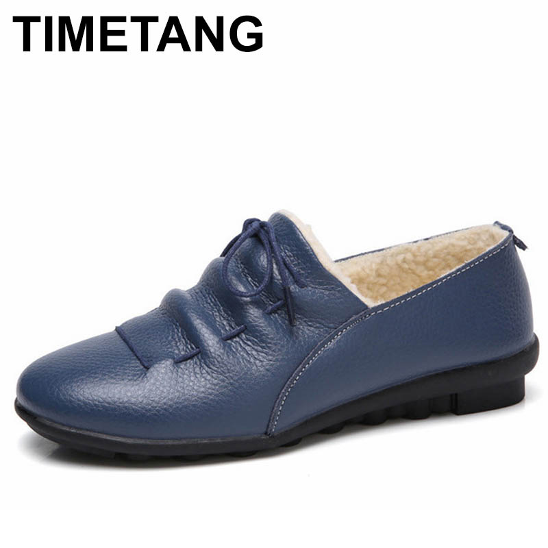 TIMETANG Casual Cow Leather Women Shoes Keep Warm Cotton Shoes Woman Shallow Female Flats Fur Loafers Plush Winter Mother C281 vesonal brand faux fur women shoes flats 2017 winter warm velvet female fashion ladies woman sneakers casual footwear tsj 189
