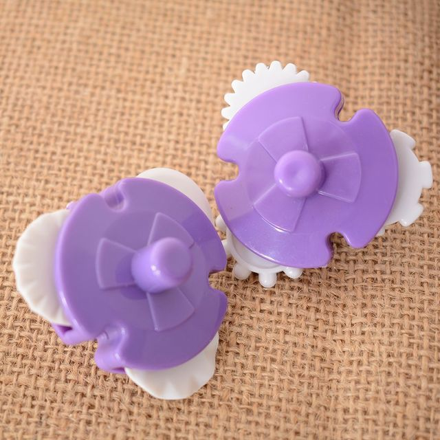 2PCS Fondant Strip Ribbon Cutter Sugarcraft Cake Decorating Tools Plastic Rolling Pin Lace Dots Woven Pattern Embos Knife Baking