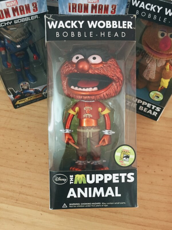 2013 SDCC Exclusive Funko Official Metallic Wacky Wobbler Sesame Street - The Muppets Animal 8'' Figure Collectible Model Toy funko tales of the rat fink wacky wobbler bobble head pvc action figure toy 8 colors