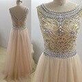 Amostra Real NEW Arábia Saudita Luxo Beaing Cristal Champagne A Linha de Colher Tulle Prom Dress 2016 vestidos de Noite do baile de Finalistas Vestido wjt