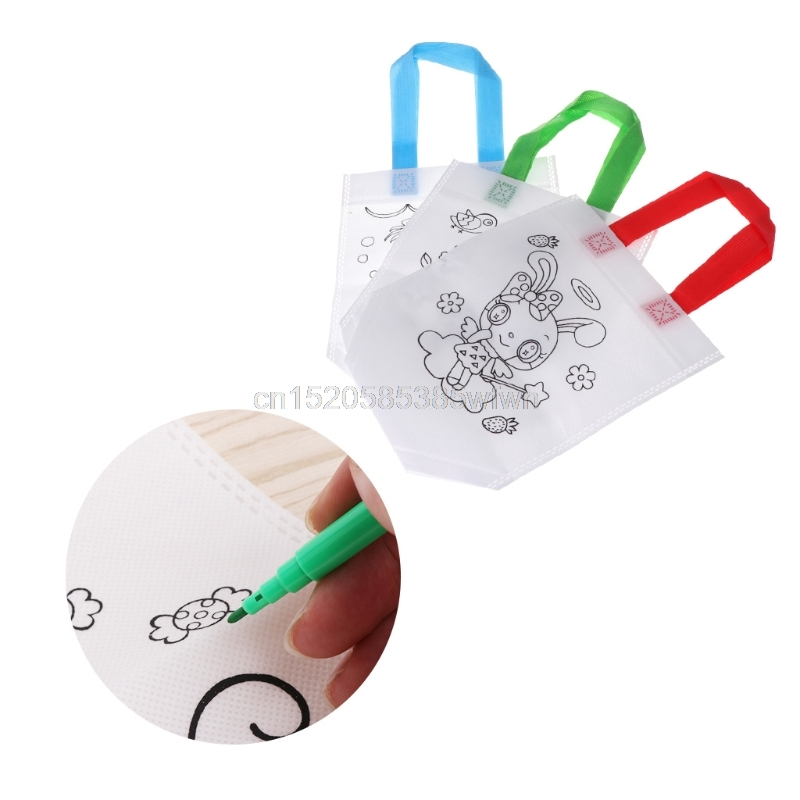 Children Graffiti Painted Bag Environmental Protection Handbag Painting Toy Drop shipping HC6U Drop shipping